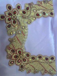 Hand Embroidery Flowers, Beaded Embroidery, Embroidery Designs, Bead Art, Blouse Designs, Applique, Brooch, Caftans, Pearls
