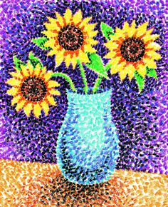 Pointillism and stippling drawing technique