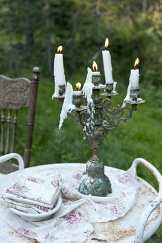 take old candelabras outdoor for nighttime romance