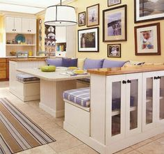 """The Kitchen and Bath People: """"The Kitchen is the New Living Room"""" - Ina Garten:  Oh how I love this setup.  Many a cup of coffee and pieces of pie, games played and warming visits to be had in this space."""