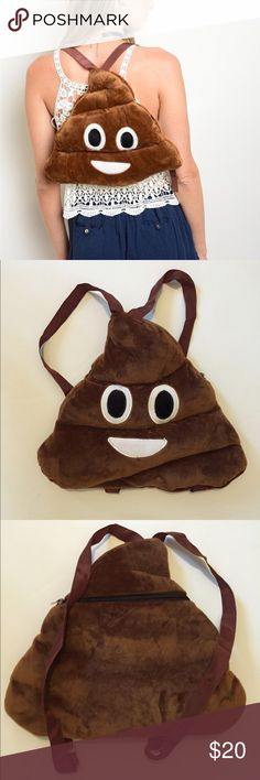 NWOT Emoji poop backpack  This adorable emoji backpack is plush and so much fun! Perfect for festivals, especially with the zipper located on your back to keep all your valuables safe  Bags Backpacks