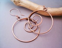 Wire Wrapped Spiral Earrings oldlooking Copper   by GearsFactory, €13.00