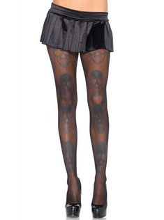 "Women's ""Shimmer Skull"" Pantyhose by Leg Avenue (Black) - www.inkedshop.com"