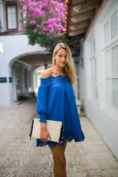 Blue off the shoulder tunic with cut out detail and 3/4 sleeves | Daisy