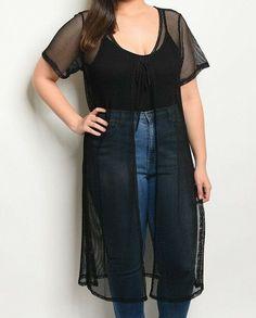 4295541490d Womens Plus Size 1X 2X 3X Fishnet Mesh Long Kimono Duster Black New Nwot   Zenobia