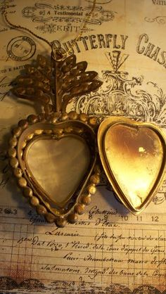 Vintage French Mother of Pearl  Ex Voto Sacred Heart 1800's Replica
