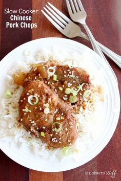 Slow Cooker Chinese Pork Chops on SixSistersStuff.com