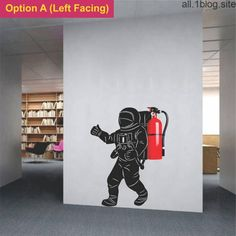 Astronaut wall decal for a fire extinguisher Creative wall sticker moon walk art for Office school collage garage warehouse decoration Office Wall Decals, Office Walls, Wall Sticker, Objet Deco Design, Wall Murals, Wall Art, Creative Walls, Fire Extinguisher, Office Interiors