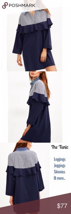 coming....NAVY RUFFLE TRIM TUNIC What a great tunic! Details galore. Features shirt collar with vertical stripes. Front has 3 buttons. Ruffles all the way around at bust height. Loose fitting sleeve. Grab a choker while you're here as pictured. -No trades. 51twenty Tops Tunics