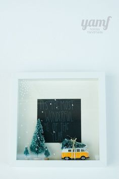 Christmas shadowbox.need to make this with out toy bus ;)