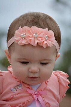 Peach Headband, Coral Baby Headband, Infant Headband, New Flower Hair Bows, Ribbon Hair Bows, Diy Hair Bows, Diy Ribbon, Ribbon Flower, Rosette Headband, Pearl Headband, Lace Headbands, Diy Headband