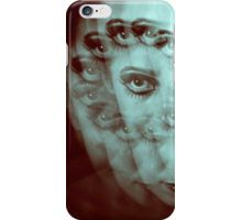 Multiple image of eye of young woman with makeup in dark analog film photo iPhone Case/Skin