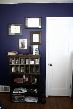 navy blue and white - I really like this for a boy's room!