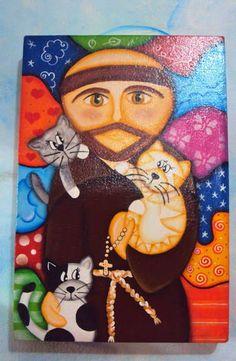 São Francisco pintado em tela tam 20x29cm. Peça pintada a mão livre, pintura…