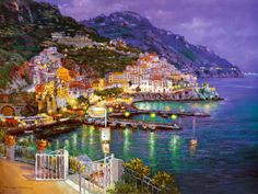 "Amalfi Evening Art Print by S. Sam Park item #: 13859729A   40"" x 30""   40"" x 30""   Our Price:  $54.99"