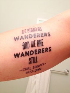 "The wisdom of Carl Sagan. ""Representing the time it took Voyager 1 to travel from Earth to outside of our Solar System!"" 