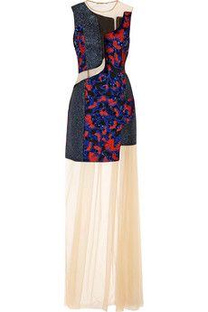 Mary Katrantzou Embellished jacquard and tulle gown | NET-A-PORTER
