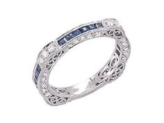 14K WHITE GOLD PAVE FILIGREE DIAMOND & SAPPHIRE ETERNITY WEDDING BAND RING 7.25