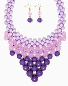 charming charlie   V Bead Bib Necklace Set   UPC: 450900356194 #charmingcharlie