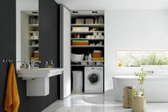 Furnishing ideas f bcr cabinets for utility room residential design utility room furniture examples. Bathroom Interior, Modern Bathroom, Interior Design Living Room, Living Room Designs, Modern Washing Machines, Small Washing Machine, Bathroom Floor Plans, Bathroom Flooring, Creative Closets