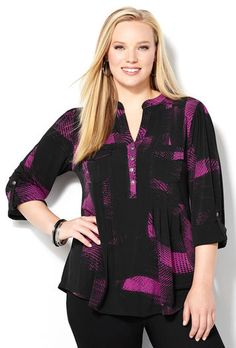 Pixel Pleated Shirt-Plus Size Shirt-Avenue Plus Size Shirts, Plus Size Tops, Plus Size Women, Pleated Shirt, Stylish Plus, Lace Sleeves, Casual Tops, Plus Size Outfits, Plus Size Fashion