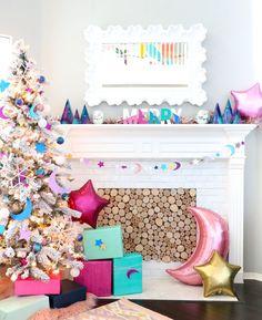 DIY Glittery Galaxy Christmas Tree and Garland - A Kailo Chic Life Pink Christmas Tree, Merry Christmas To All, Christmas Wishes, Christmas Home, Christmas Holidays, Christmas Crafts, Xmas, Christmas Design, Christmas Stockings