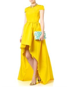 Yellow Silk Faille Hem Gown | Katie Ermilio | Avenue32