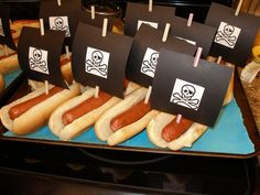 pirate ship hot dogs- Jake and the Neverland Pirates party make red and white flags instead of skulls