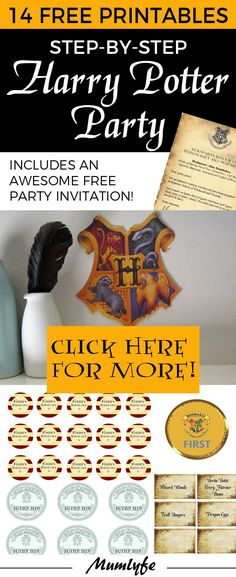Loads of Harry Potter free printables for parties. Includes invitations, decorations + more. The only place you need for Harry Potter free printables. Harry Potter Halloween, Harry Potter Motto Party, Harry Potter Invitations, Harry Potter Printables, Theme Harry Potter, Harry Potter Christmas, Harry Potter Birthday Invitation, Harry Potter Costumes, Harry Potter Party Games