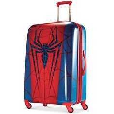 """Marvel Spider-Man 28"""" Hardside Spinner Suitcase by American Tourister ($200) ❤ liked on Polyvore featuring bags, luggage and marvel spider man print"""