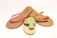 Women's Trend: Neon Sandals  (From left: Tkees' leather thong, Jack Rogers' woven sandal, and Roxy's multi-strap slide)