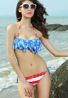 American US Flag Fringe Bikini  #4thofJuly #Patriotic