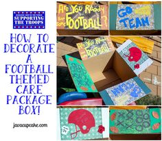 How to Decorate a Football Themed Care Package Box by JavaCupcake.com Anniversary Care Package, Anniversary Gifts, Football Care Package, Survival Kit Gifts, Survival Hacks, Football Gift Baskets, Valentines Day Care Package, Chemo Care Package, Boyfriend Care Package