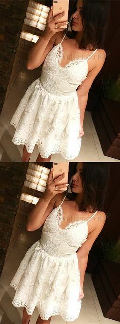 Simple white lace homecoming dresses, cheap short prom gown, modest party dresses.