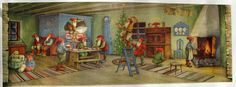 1940's Original Vintage Erik Forsman Christmas Gnomes Swedish Poster