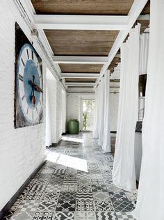 breezy entry, patterned tile floor