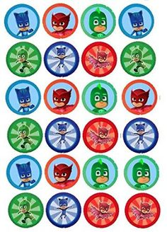 24 EDIBLE IMAGE PJ MASK CUPCAKE TOPPERS