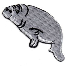 """Manatee - Sea cow - Gray - Embroidered Iron On Applique Patch - 4""""W - Left #NA"""