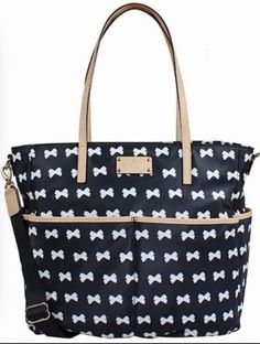 KATE-SPADE-Kennedy-Park-Honey-Baby-Diaper-Bag-Bow-Black-Cream