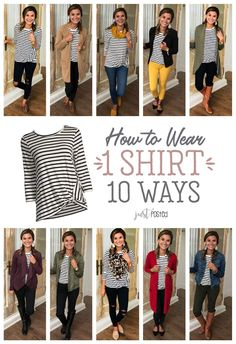 How to wear 1 striped shirt 10 different ways! A good basic striped tee can be worn so many ways! This striped tee is a super soft material, and I love the little twist detail added! Here are 10 ways Mode Outfits, Casual Outfits, Fashion Outfits, Fashion Tips, Stylish Mom Outfits, Stylish Eve, Mom Fashion, Curvy Fashion, Fashion Trends