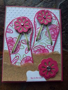 flip flop handmade card summer holiday honeymoon very cute love the idea of using sandpaper as beach!