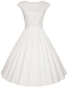 SYLVIEY Womens Hepburn style Retro 50s Bridesmaid Vintage Swing Party Tea Dress White 16 * You can get more details by clicking on the image.