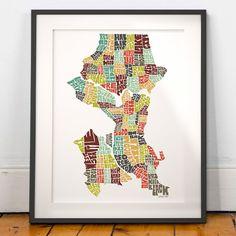 Seattle typography map seattle map art seattle neighborhoods