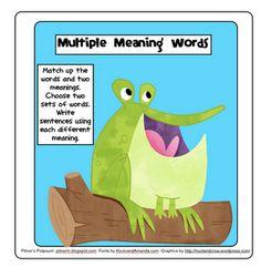 context clues and sentence writing. Hoppin' on Multiple Meaning Words -- Freebie! Teaching Language Arts, Classroom Language, Speech Language Pathology, Language Activities, Speech And Language, Second Language, Reading Skills, Teaching Reading, Teaching Ideas
