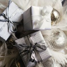 "Christmas packaging ideas in white and gray from ""The white company"""