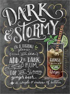 Premium-Poster Dark and Stormy Rezept (Englisch) Lily & Val – Dark & Stormy Cocktail Bar Drinks, Cocktail Drinks, Yummy Drinks, Alcoholic Drinks, Beverages, Fun Cocktails, Chalkboard Designs, Chalkboard Art, Milk Shakes