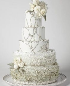 Stunning white cake with silver accents for a winter wedding - Maggie Austin Cake.<3