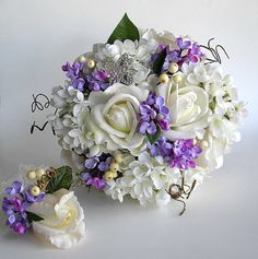 Real Touch White Rose and Lilac Bridal Flower Package - Made to Order