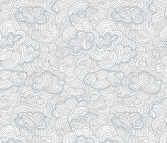 Grey blue clouds fabric by indiepixels on Spoonflower - custom fabric