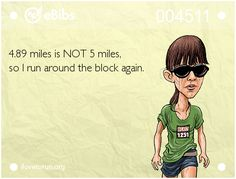 RUNNING WITH OLLIE: I'm an eBib Caricature and You Can Be One Too 4.89 miles is not 5 miles so I run around the block again. #running #humor click through to read